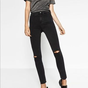 High Waist Ripped Skinny Jeans Black
